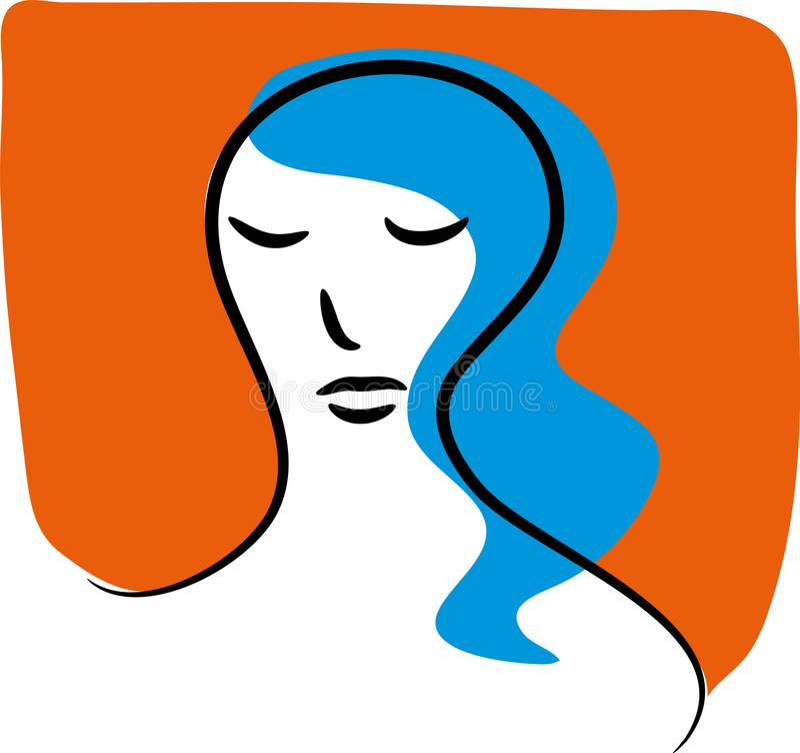 Worried and sad woman stock illustration