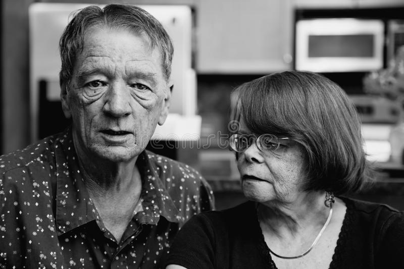 Worried Senior Couple stock photography