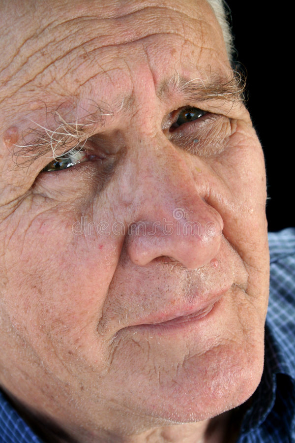 Worried Senior Man. Senior man with a worried and concerned look stock photo