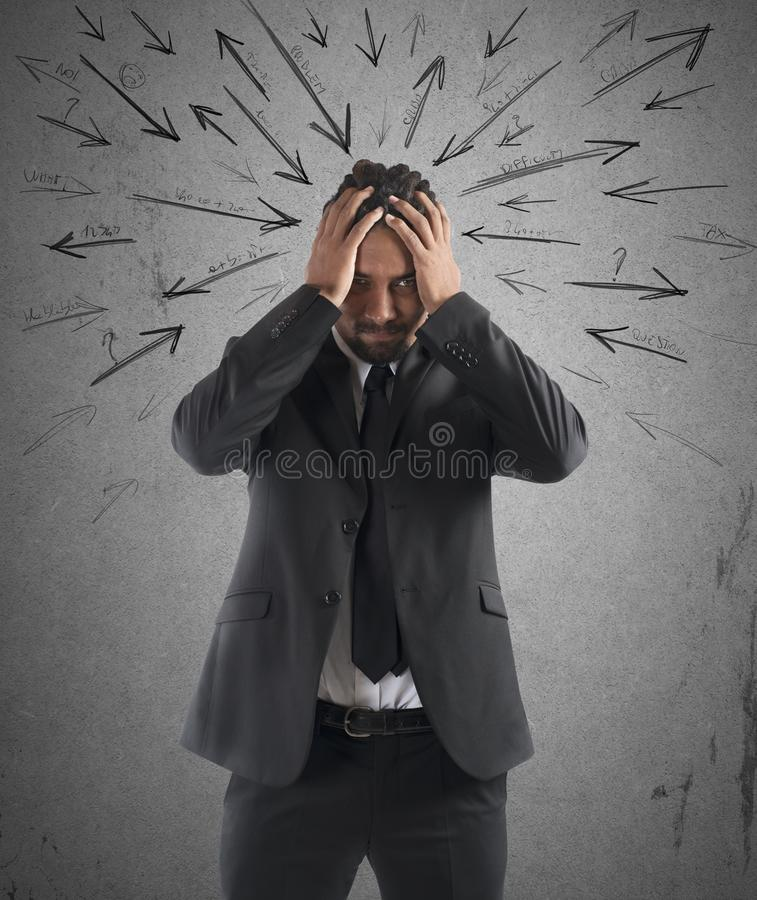 Worried stressed businessman royalty free stock image