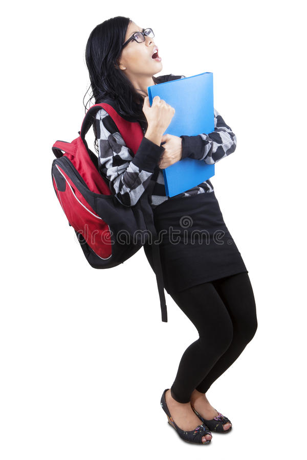Worried student see something stock photos