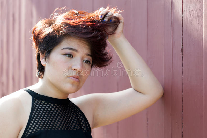 Worried Teenage Woman stock photo