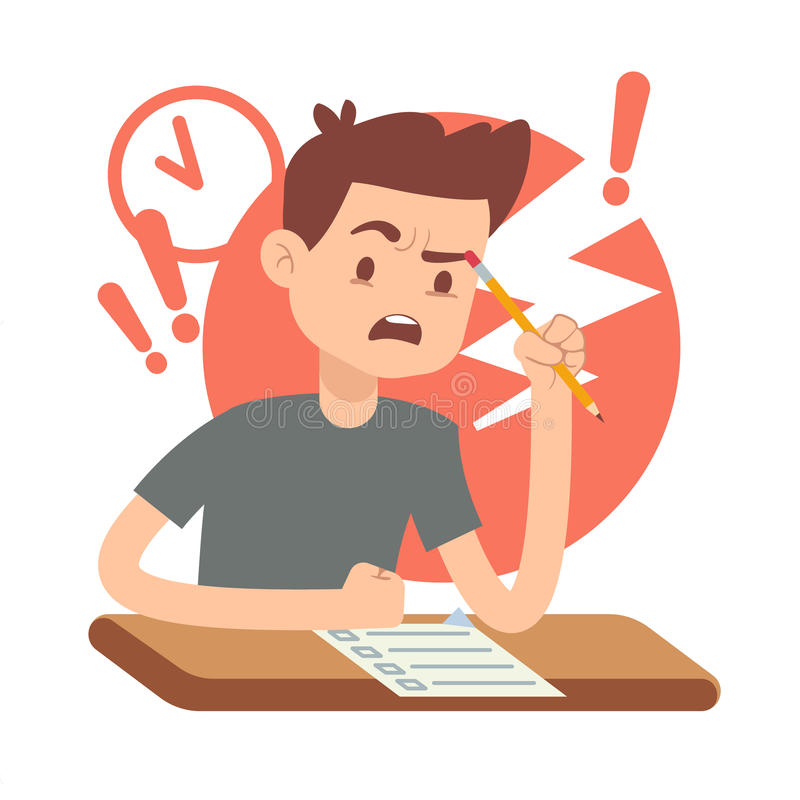 Worried, upset teen student on exam. Education and study vector concept. Alarmed by student answers questions in exam illustration vector illustration