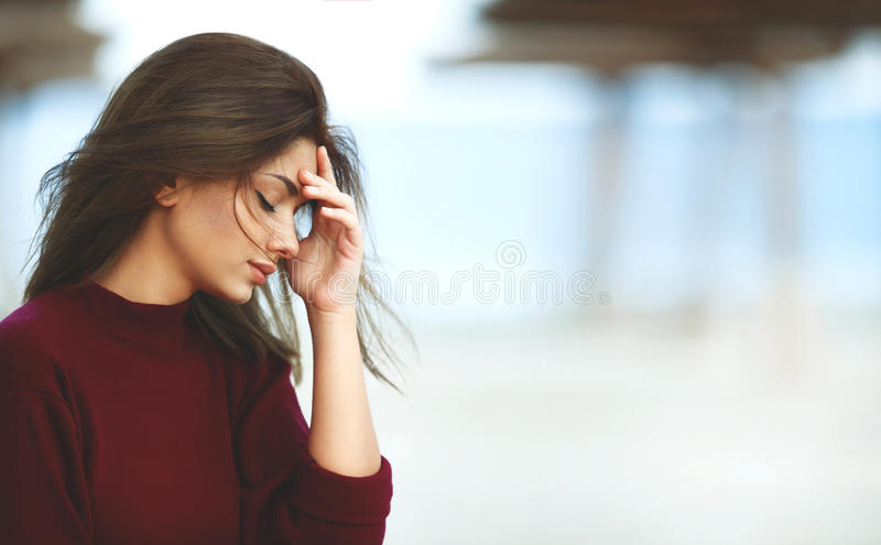 Worried Woman on The Beach stock image