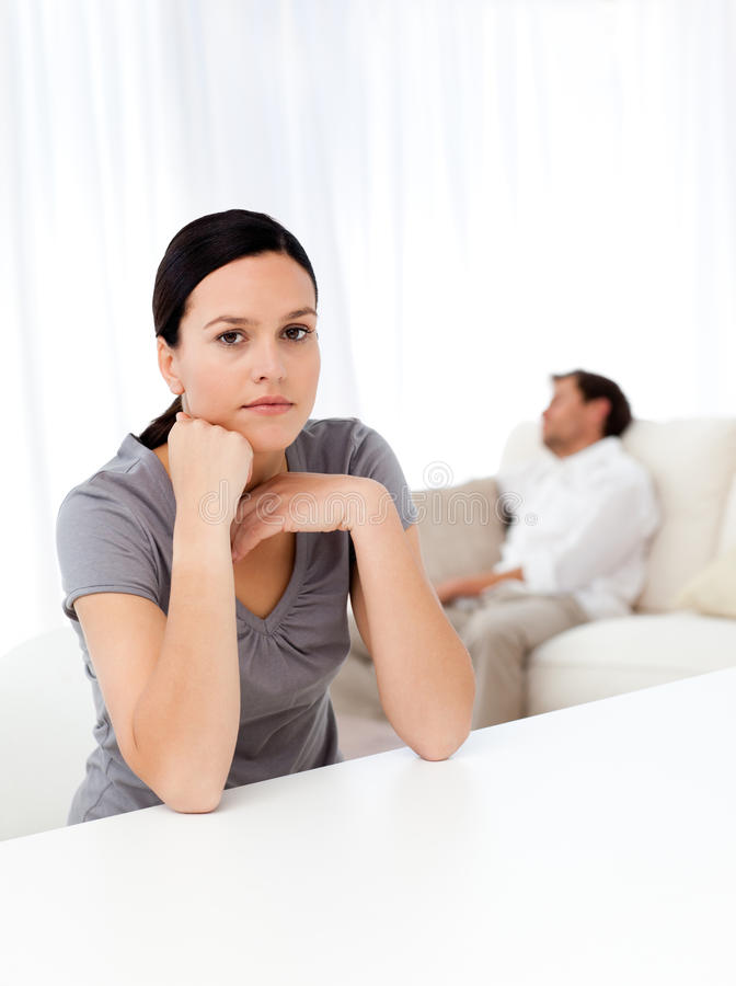 Download Worried Woman In The Living Room Stock Image - Image of handsome, pensive: 17376293