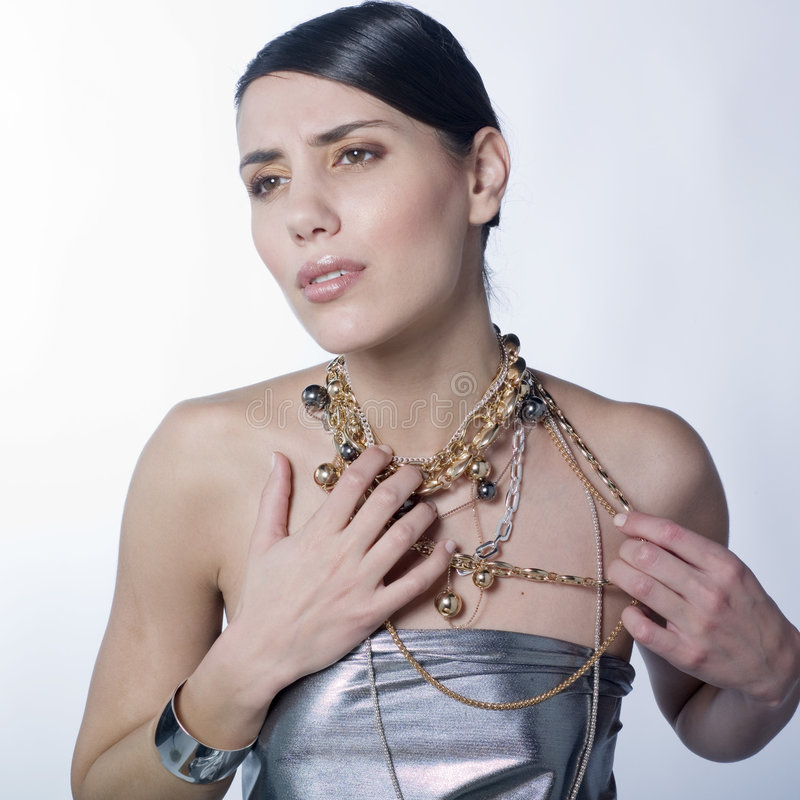 Download Worried Woman With Necklaces Stock Photo - Image: 7496330
