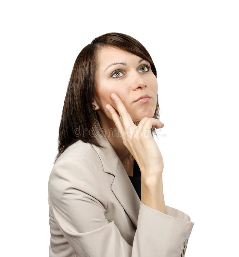Worried young business woman royalty free stock photography