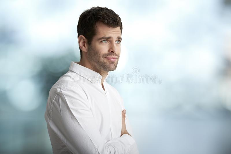 Worried young man portrait royalty free stock photography