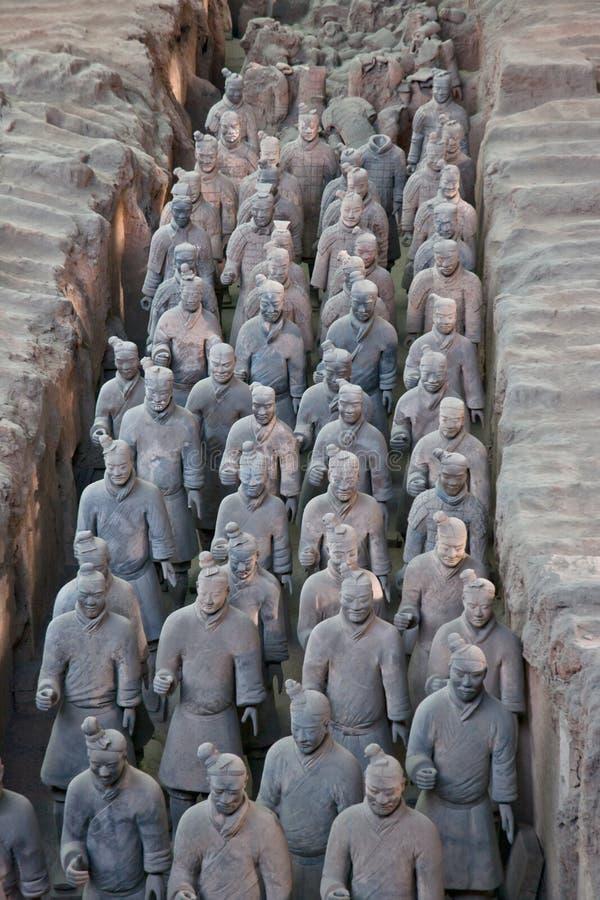 Worriers van het terracotta in een Rij stock fotografie
