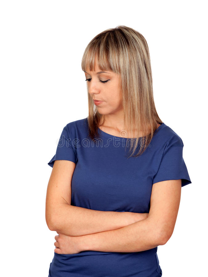 Download Worry blond woman stock image. Image of person, isolated - 29096823
