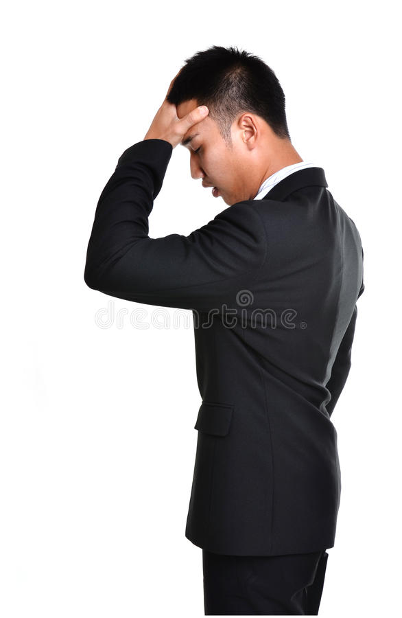 Worry business man isolated