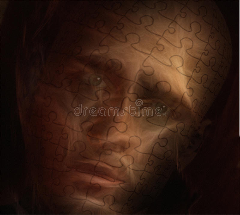 Worry. Man covered in Puzzle skin displays worried expression vector illustration