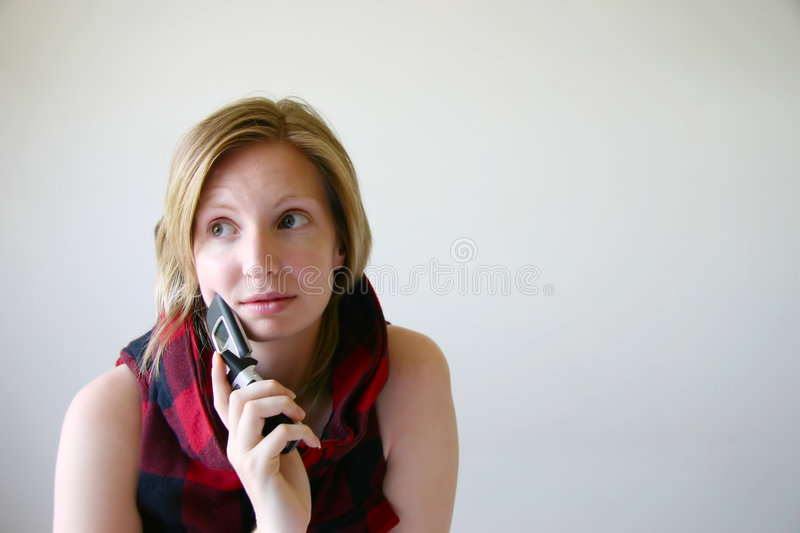 Worrying girl with mobile cell phone