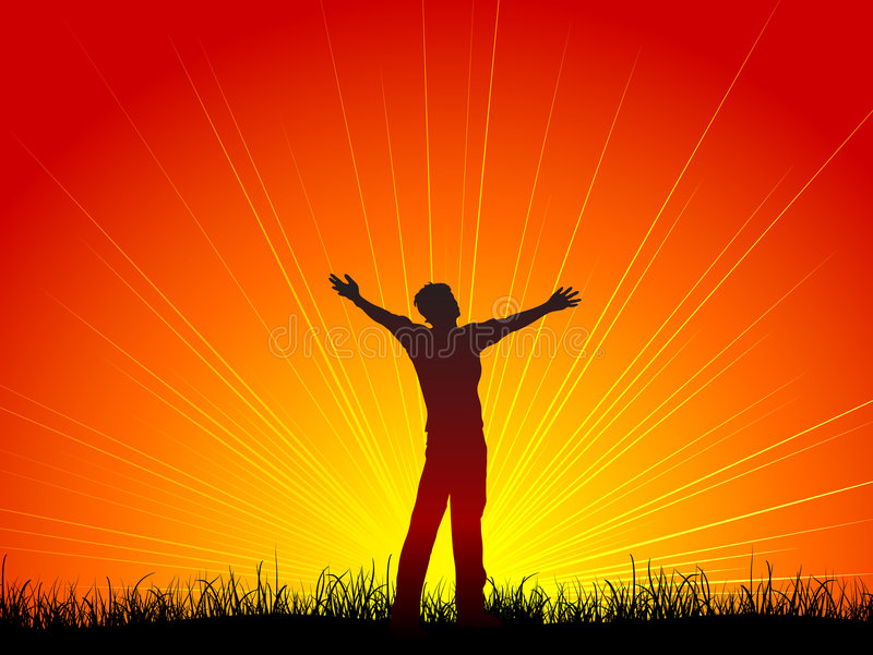 Worship. Silhouette of a man with his arms outstretched in worship vector illustration