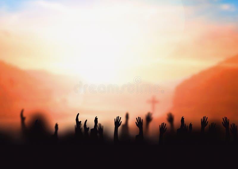 Worship concept: worship and praise God stock photo