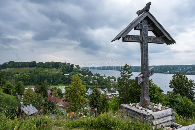 The worship cross on Mount Levitan, which is a monument to all Orthodox Christians buried here for many centuries stock images