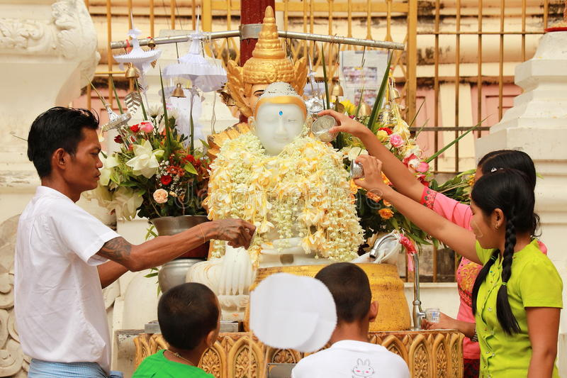 Bathing and Worship God at Shwedagon, Yangon , Myanmar royalty free stock photo
