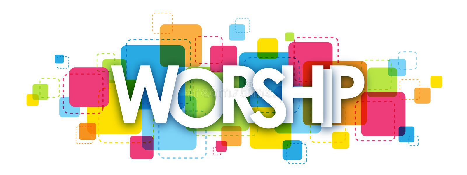 WORSHIP letters banner stock illustration