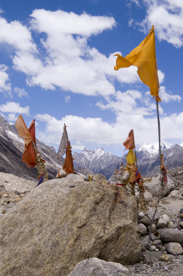 Worship place by source of Ganga river, India stock photography