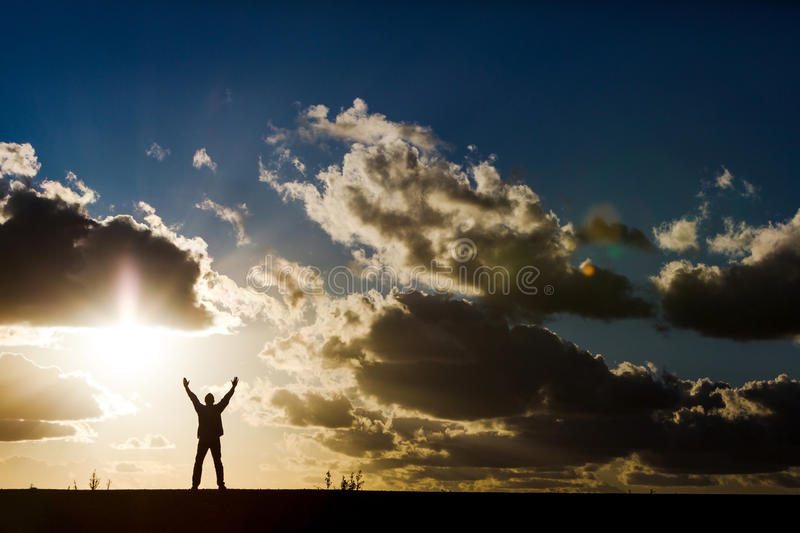 Worship silhouette royalty free stock images