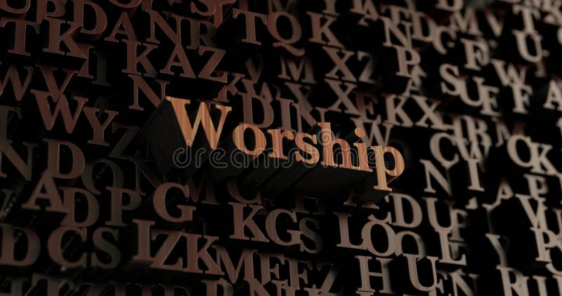 Worship - Wooden 3D rendered letters/message stock illustration
