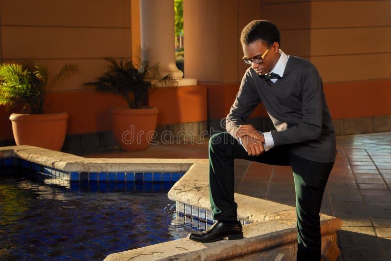 Worshipful African American Teen stockfoto