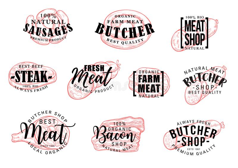 Worst en vlees het van letters voorzien, slagerij vector illustratie