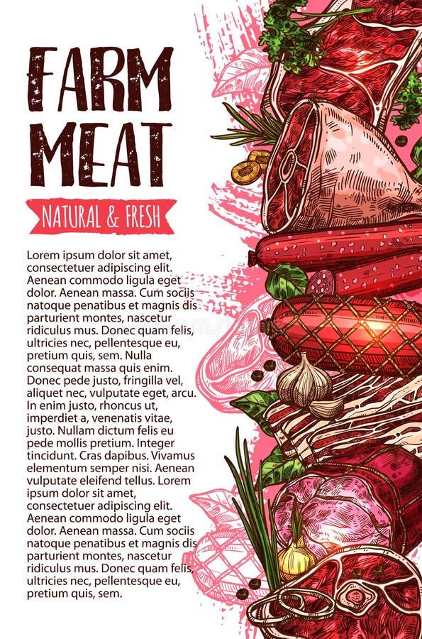 Worst en vlees, landbouwproduct bannermalplaatje royalty-vrije illustratie