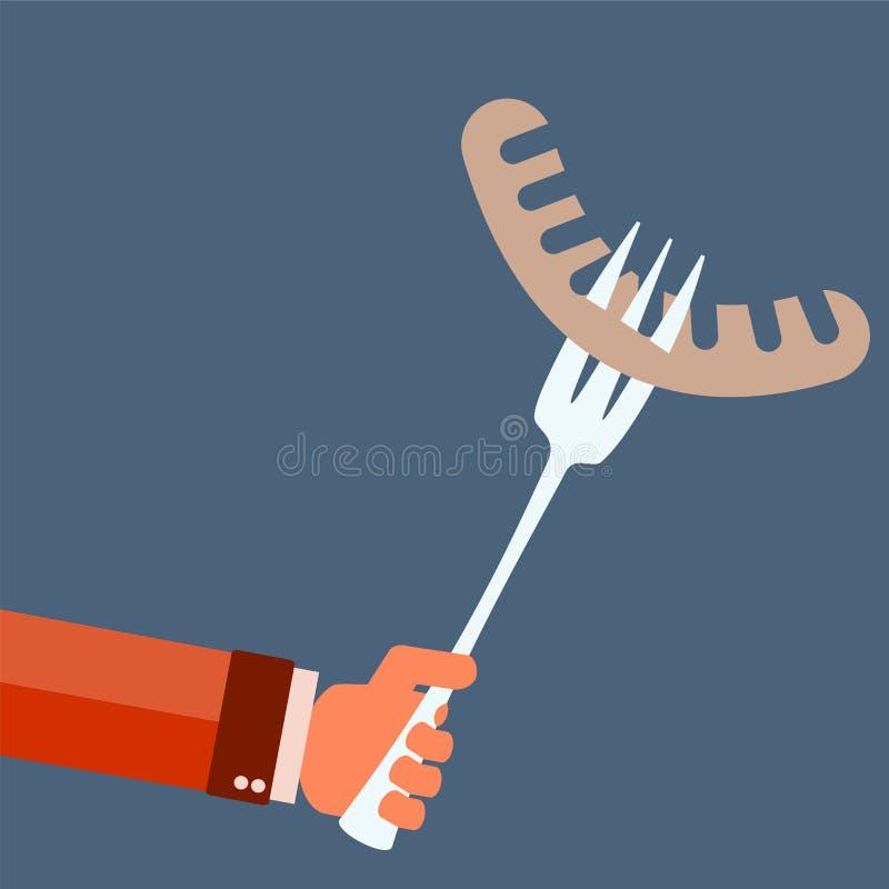 Worst met een in hand vork royalty-vrije illustratie