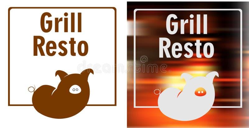 Worst-varken in het kader, grill minimalistisch embleem royalty-vrije illustratie