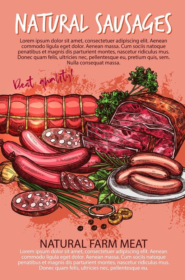 Worstbanner met rundvlees en varkensvleesvleesproduct stock illustratie