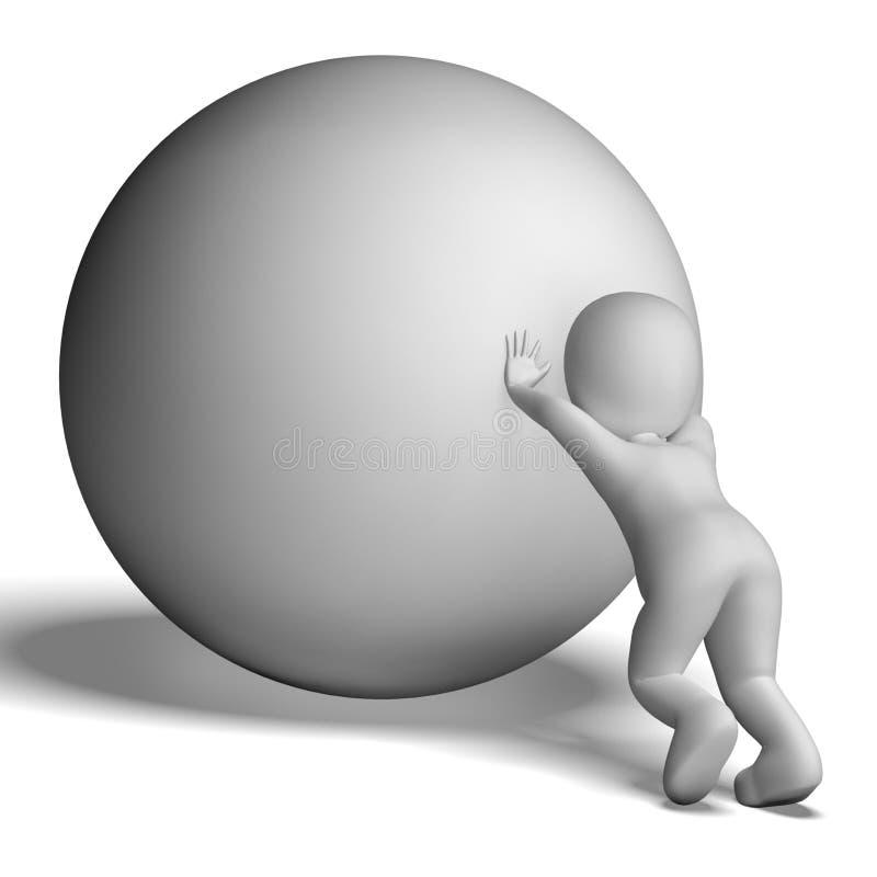 Worstelende Bergopwaartse Mens met Bal die Bepaling tonen vector illustratie