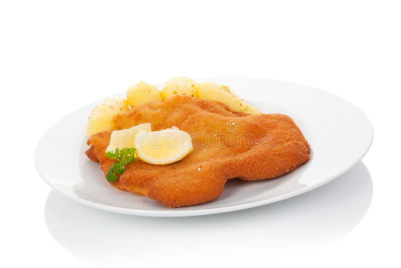 Worstjeschnitzel op plaat stock foto