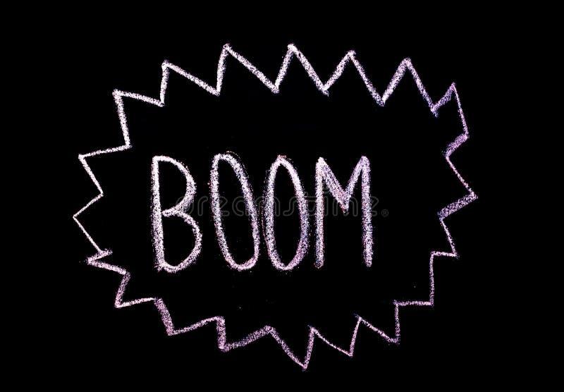 Wort 'Boom 'drawned auf Tafel lizenzfreie abbildung