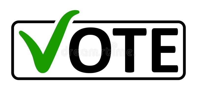 Wort-Abstimmung mit einem grünen Prüfzeichen vektor abbildung