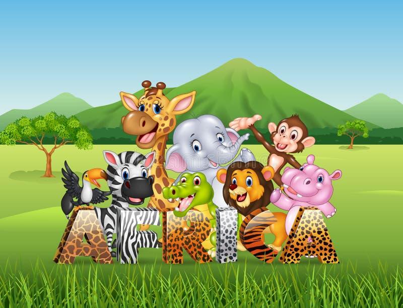 Wort Afrika mit wildem Tier der Karikatur lizenzfreie abbildung
