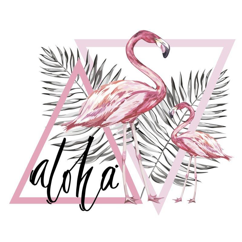 Wort Aloha Zwei Flamingos mit tropischen Blättern Element für Design von Einladungen, von Filmposter, von Geweben und von anderem stock abbildung