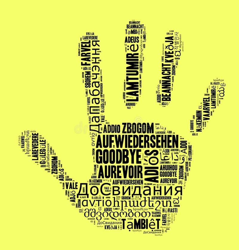 Wort Auf Wiedersehen in den verschiedenen Sprachen lizenzfreie abbildung