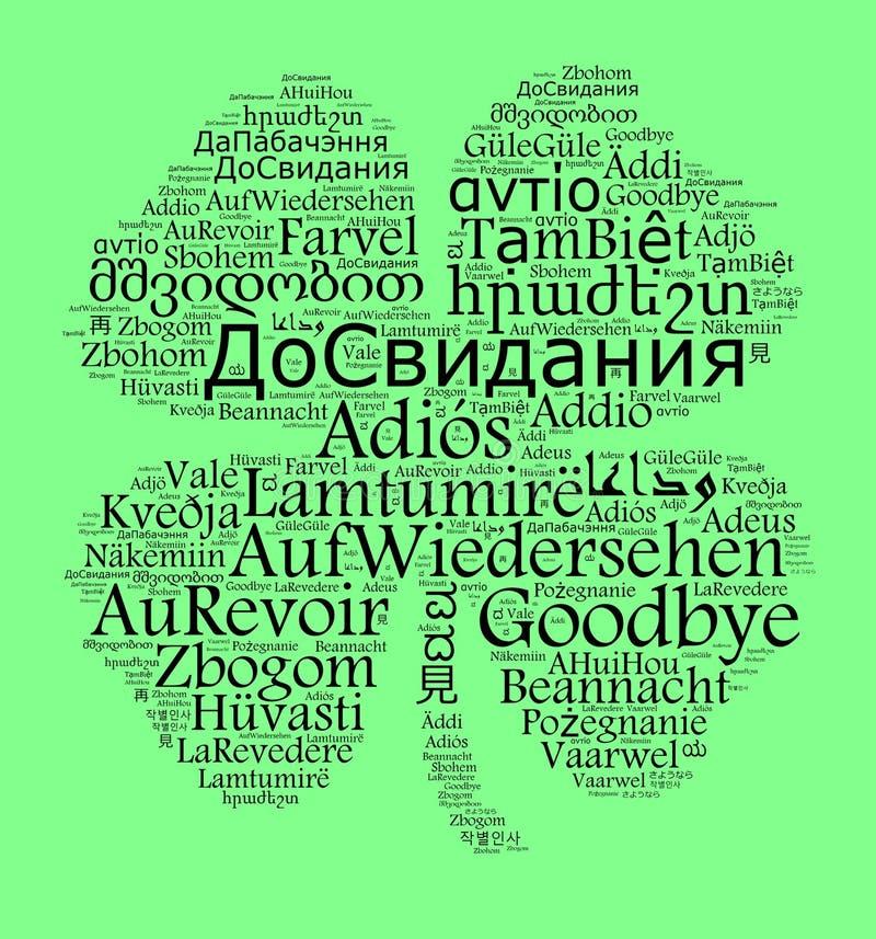 Wort Auf Wiedersehen in den verschiedenen Sprachen stock abbildung