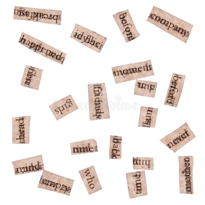 Wort-Ausschnitte von den Büchern stockfoto