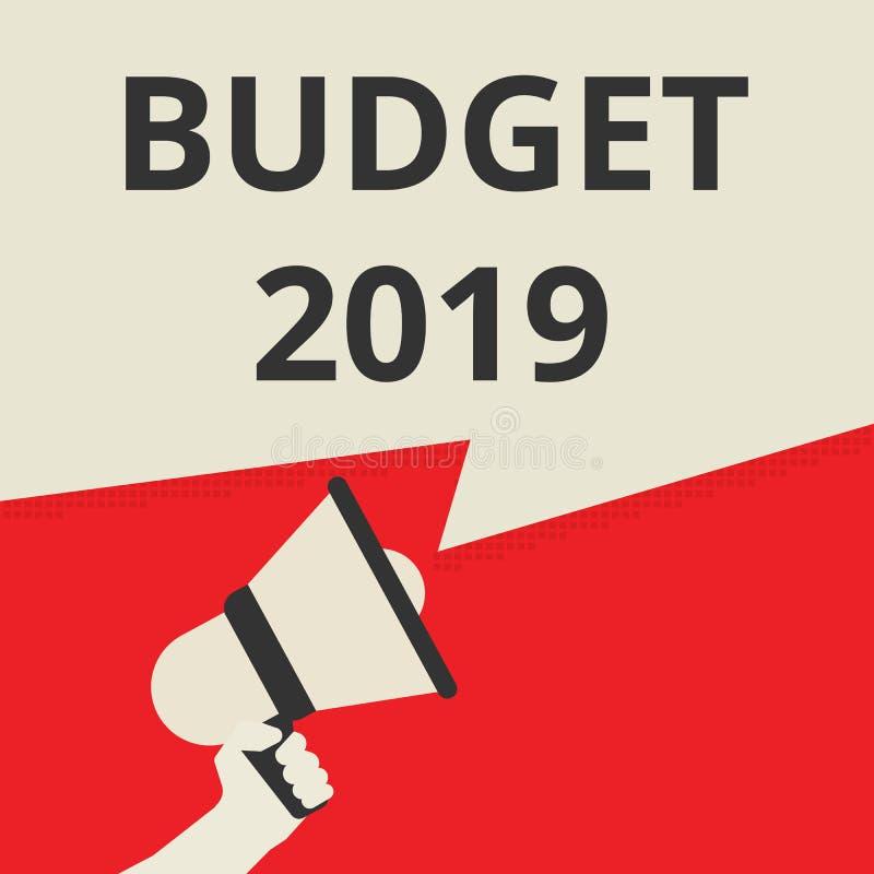 Wort, Budget 2018 schreibend vektor abbildung