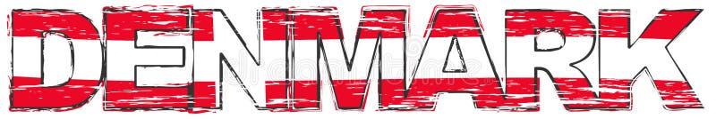 Wort DÄNEMARK mit dänischer Staatsflagge unter ihr, beunruhigter Schmutzblick lizenzfreie abbildung