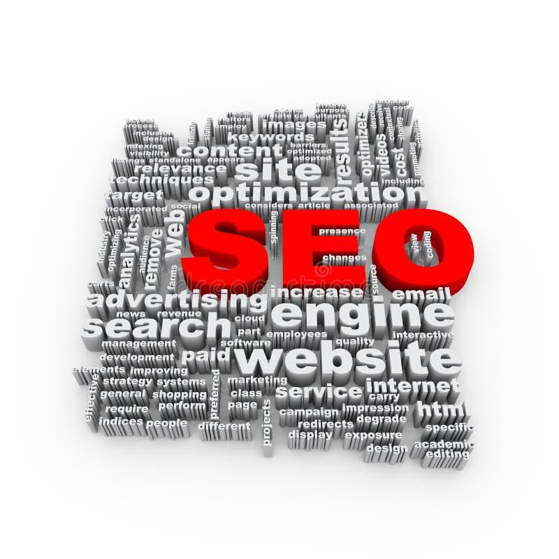Wort 3d etikettiert wordcloud von seo Suchmaschinen-Optimierung lizenzfreie abbildung