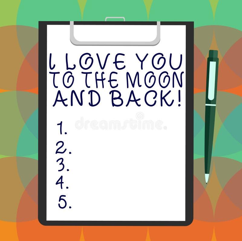Wort, das ich liebe dich Text zum Mond und zur Rückseite schreibt Geschäftskonzept für das Ausdrücken von roanalysistic Gefühlsge stock abbildung