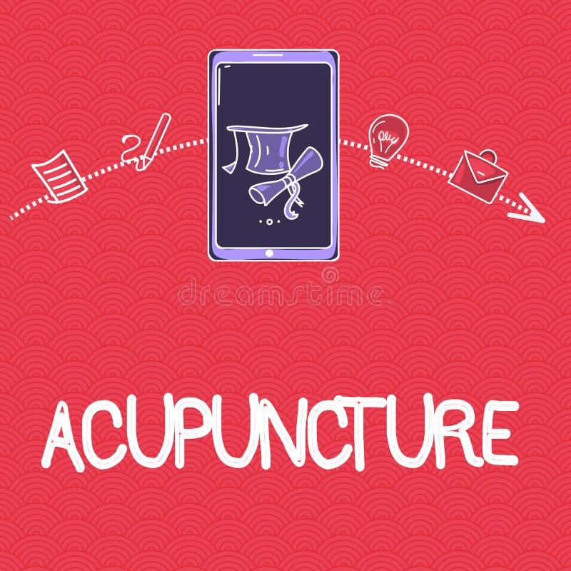 Wort, das Text Akupunktur schreibt Geschäftskonzept für alternative Therapie Behandlung für die Schmerz und Krankheit unter Verwe stock abbildung
