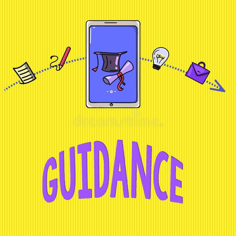 Wort, das Text Anleitung schreibt Geschäftskonzept zu dem Rat oder Information angestrebt, Problem oder Schwierigkeit lösend stock abbildung