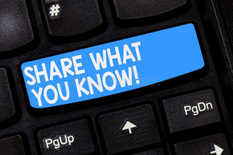 Wort, das Text Anteil schreibt, was Sie kennen Geschäftskonzept für Communicate Ihr Wissen und Erfahrungen zu anderen lizenzfreies stockfoto