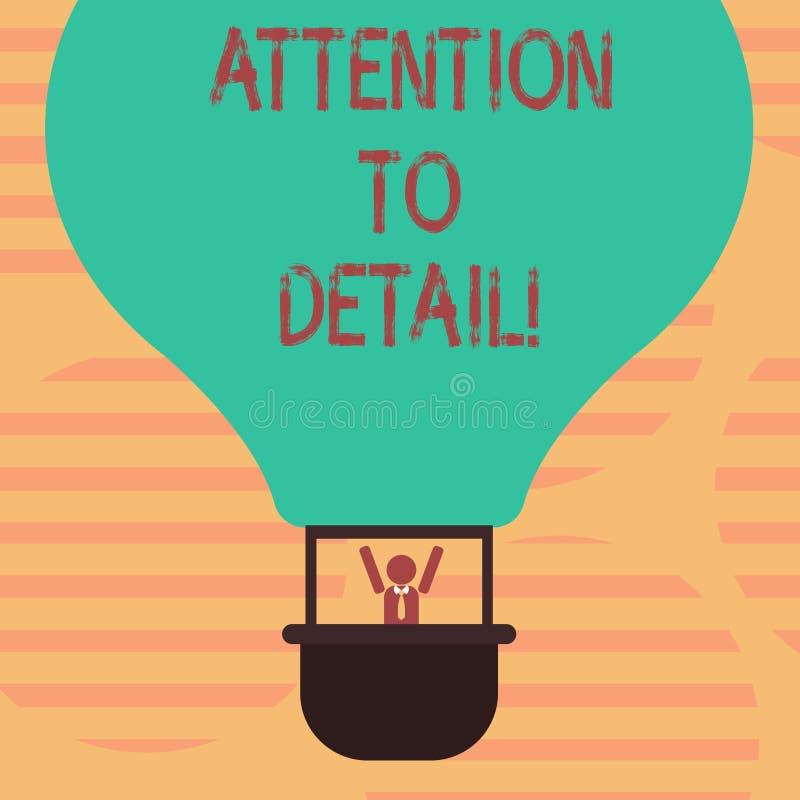Wort, das Text Aufmerksamkeit zum Detail schreibt Geschäftskonzept, damit Fähigkeit Gründlichkeit und Genauigkeit in der Aufgabe  vektor abbildung