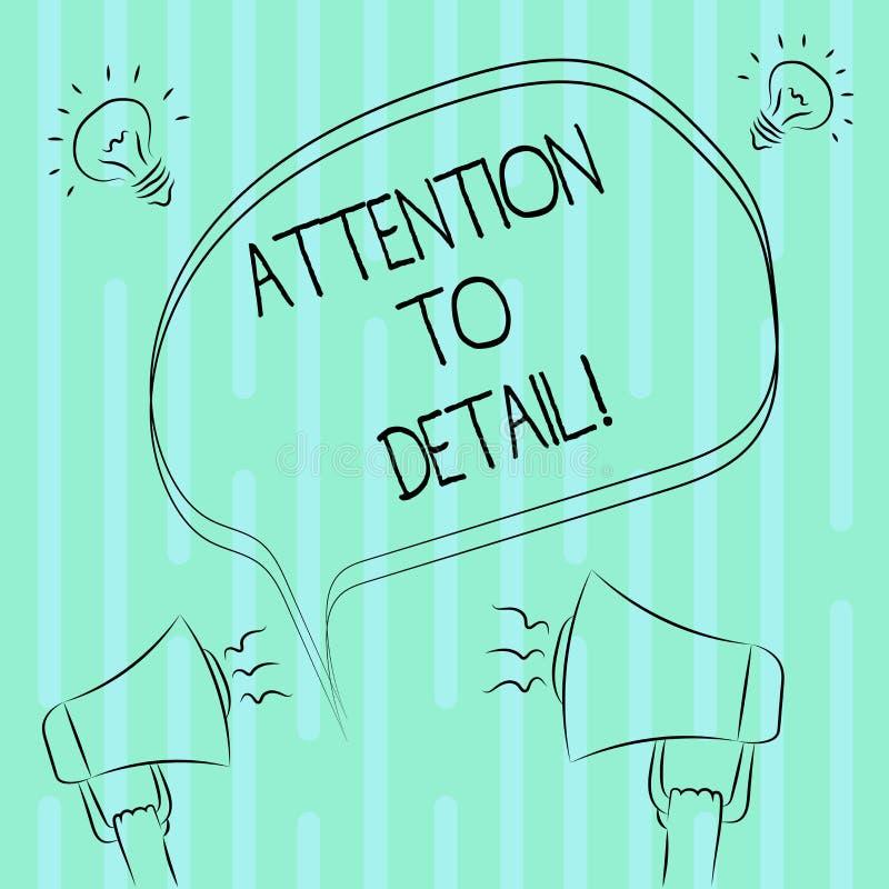 Wort, das Text Aufmerksamkeit zum Detail schreibt Geschäftskonzept, damit Fähigkeit Gründlichkeit und Genauigkeit in der Aufgabe  lizenzfreie abbildung