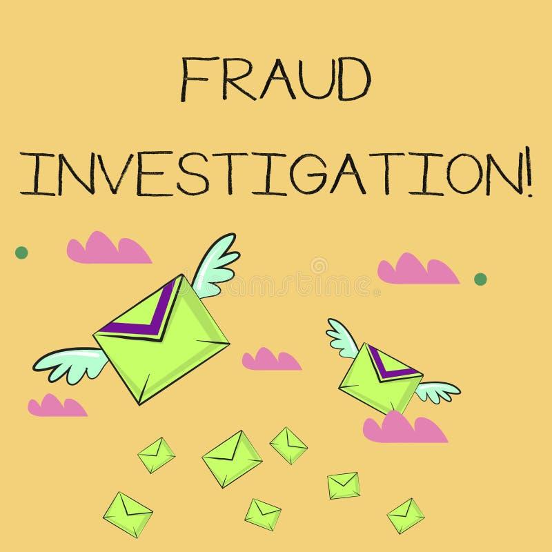 Wort, das Text Betrugs-Untersuchung schreibt Geschäftskonzept für Prozess der Bestimmung, ob ein Betrug viele stattgefunden hat vektor abbildung